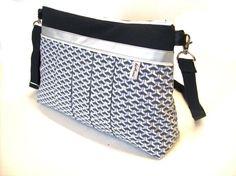sac bandouliere noir et gris a motifs geometriques  par tchaiwalla