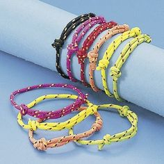 Nylon Friendship Rope Bracelets (72) by Fun Express. $5.20. Pack includes 72 Nylon Friendship Rope Bracelets in assorted colors. Bracelets adjust to fit most wrists. These bracelets make great party favors at girls' slumber or birthday parties.