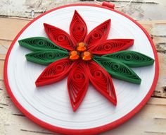 Poinsettia Ornament, Quilled Paper, Red and Green Flower, 'POINSETTIA'
