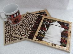 Quilted Mug Rugs Coffee Theme French Country White Coffee . Small Quilts, Mini Quilts, Mug Rug Patterns, Quilt Patterns, Quilted Coasters, How To Make Coasters, Coffee Theme, Felted Wool Crafts, Quilted Gifts