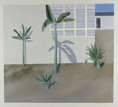 "wetreesinart: "" David Hockney (Ang. 1937), Jardin à Hollywood, 1966, peinture acrylique, peinture sur toile, 18,3 x 18,3 cm, Allemagne, Hambourg, Kunsthalle """