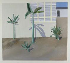 DavidHockney (Ang. 1937),Jardin à Hollywood,1966,peinture acrylique, peinture sur toile, 18,3 x 18,3cm,Allemagne, Hambourg, Kunsthalle