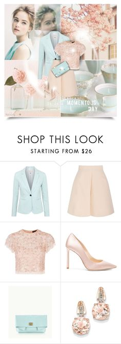 """""""Lovely Day!"""" by pinkroseten ❤ liked on Polyvore featuring Katie Ermilio, George, Delpozo, Needle & Thread, Jimmy Choo, GiGi New York and BillyTheTree"""