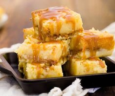 These bars start with a rich buttery crust layered with salted caramel and a gooey buttery filling that's topped with a drizzle of more caramel. Print RecipeSalted Caramel Gooey Butter Bars Prep Time: 30 minutesCook Time: 35 minutesTotal Time: 1 hour, 5 minutes Yield: 16 bars IngredientsFor salted caramel: 1/4Get the Recipe