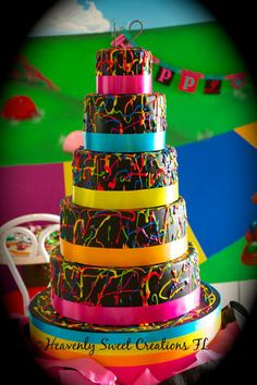 Paint Splatter Cake, 80's Cake, Neon Cake by Ashley @HeavenlySweetCreationsFL www.heavenlysweetcreationsfl.com
