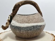 Felted Vessel with Driftwood Handle_Beads_Hemp Cord