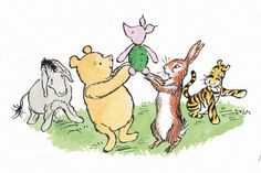 The other players on the Four Legs side—Tigger, Pooh, Rabbit, and Eeyore—gathered around Piglet and raised him high into the air Winnie The Pooh Drawing, Winne The Pooh, Winnie The Pooh Quotes, Winnie The Pooh Friends, Winnie The Pooh Tattoos, Winnie The Pooh Classic, Vintage Winnie The Pooh, Eeyore, Tigger