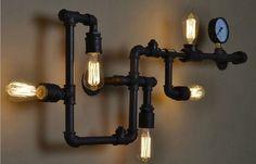 美式乡村复古工业风过道咖啡厅吧台个性时尚水管铁艺壁灯