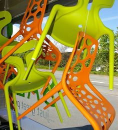 A colourful view of chairs in our #Northwales showroom window
