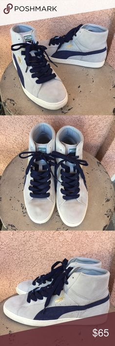 a46c7034b8 Puma Suede Blue Gray High Top Sneakers Sz 11 Ships Same Day or Next  Business Day