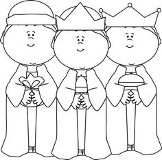 Black and White Three Wise Men Clip Art - Black and White Three Wise Men Image