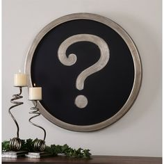 The Question Mark wall art is so fun! The finish is a matte black background and an antiqued silver finish. It would go great in any space. Wall art made by Uttermost. Rustic Wall Decor, Wall Art Decor, Matte Black Background, Barn Wood Picture Frames, Question Mark, New Wall, Wall Décor, Black Decor, Cool Walls
