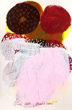 painting rain brown pink original on paper by EeliArtStudio