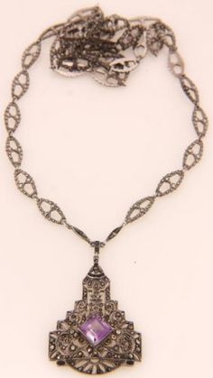 Sterling Amethyst Victorian Necklace