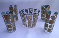 Retro Blue & Gold Drinking Glasses with Small Glass Ice Bucket
