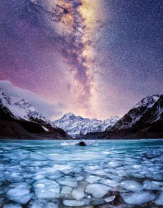 The tallest mountain in New Zealand, Mt. Cook, under the Milky Way  [1609x2048]