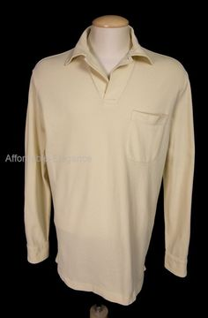 LORO PIANA Mens Polo Long Sleeve XL Yellow Textured Knit Cotton Pullover Casual #LoroPiana #PoloRugby
