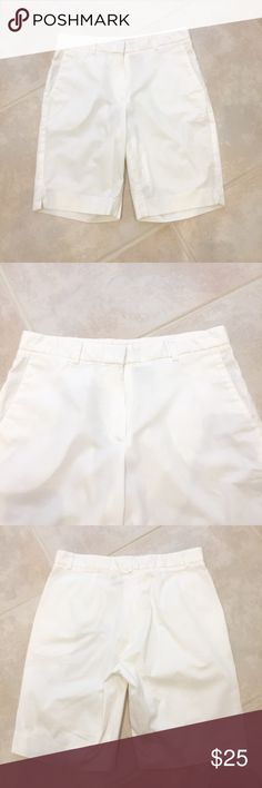 Theory Shorts Theory Shorts. Bright white. 97% cotton 3% Lycra so they have some stretch. Says size 6 but they run small. More like 2-4. EUC. Theory Shorts Bermudas