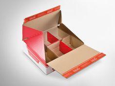 Praktisch: Bei diesem ColomPac® Blitzbodenkarton wurden die Fächer innen gleich mit integriert. So ist der Karton ruckzuck fertig aufgebaut. Die Z-Faltung an den Seiten schützt vor Eingriffen. • #Dinkhauser #offset #packaging #wellpappe #nachhaltig #plasticfree #keinplastik #klimaneutral #recycling #verkaufsverpackung #verpackungsdesign