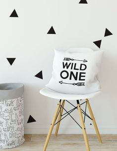 Wild One Pillow Gift For Mom Nursery Throw Modern Baby Scandinavian Decor Black White Decorative Cushion Arrow