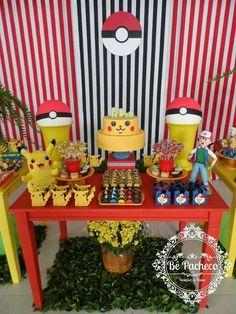 Boyfriend will love . Pokemon Themed Party, Pokemon Birthday, Pokemon Party Decorations, Birthday Party Decorations, Festa Pokemon Go, Pokemon Craft, 6th Birthday Parties, 7th Birthday, Diy Party
