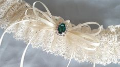 Ivory Venise Lace Bridal Garter Dark Hunter Forest Green Rhinestone Wedding  Garter