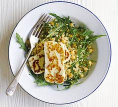 Halloumi with bulghar, chickpea & rocket salad.