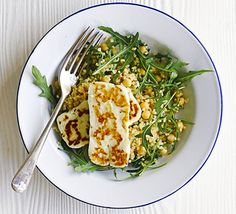 Halloumi with bulghar, chickpea & rocket salad. This firm Cypriot cheese makes a great vegetarian alternative to meat. Serve with a light salad flavoured with lime and paprika