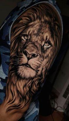 Lion Leg Tattoo, Leo Lion Tattoos, Lion Shoulder Tattoo, Tribal Lion Tattoo, Tiger Tattoo Sleeve, Realistic Tattoo Sleeve, Lion Tattoo Sleeves, Mens Lion Tattoo, Forearm Sleeve Tattoos