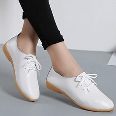 Fashion Women Flat Casual Oxfords Women& Shoes Pointed Toe Flats Leather Shoes Female Lace Up White Shoes Plus Size Comfy Shoes, Casual Shoes, Women Oxford Shoes, Shoes Women, Loafer Shoes, Women's Shoes, Oxfords, Flat Shoes, Loafers