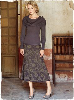 Love this skirt and top!  Lovely for fall, lovely for winter. - Charisse Cowl Top... LOVE this outfit!