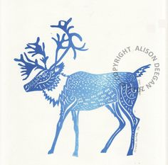 ORIGINAL lino print (Ice Blue Caribou) This is an original lino print printed with a blend of blue oil-based inks onto lovely crisp white Zerkall paper. Deer Art, Moose Art, Lino Art, Dappled Light, Woodblock Print, Pyrography, Winter Christmas, Pet Birds, Printmaking