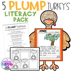 5 Plump Turkeys Poem Literacy Pack