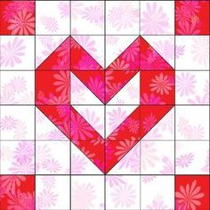 Playful Hearts quilt block for Valentines Day! Blog post includes a list of Accuquilt dies needed to make the block and an example quilt layout.