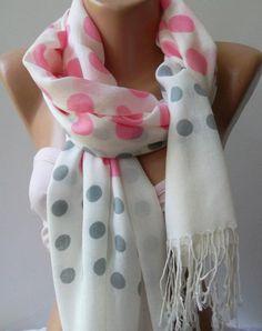 Pink Grey White /Shawl / Scarf Headband Pareos / by womann. $17.90, via Etsy.