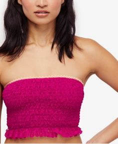 362ae9e2a020b Free People Callie Smocked Lace Bandeau - Pink XS Lace Bandeau