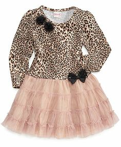 Nannette Kids Dress, Little Girls Leopard Tutu Dress