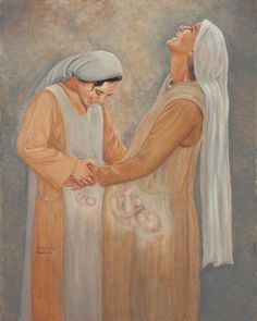 The visitation. Mary(& Jesus) and Elizabeth(&John.the baptist).I wish all mothers could see their babies like this picture portrays! Catholic Art, Catholic Saints, Religious Art, Blessed Mother Mary, Blessed Virgin Mary, Jesus Mother, Baby Jesus, Image Jesus, Jesus Tattoo