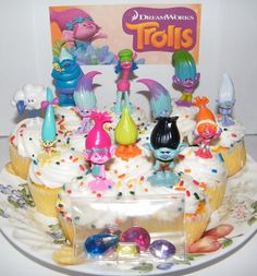 12 Dreamworks Trolls Cake Toppers Set by jenuinecraftsandmore