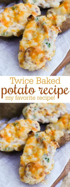 YUM!! Twice Baked Potatoes are one of my favorites and this recipe is so good. Recipe For Twice Baked Potatoes, Stuffed Baked Potatoes, Baked Potato Recipes, Side Dish Recipes, Easy Dinner Recipes, Appetizer Recipes, Breakfast Recipes, Appetizers, Dinner Dishes