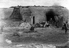 A breeched German bunker on Utah beach. June, 1944.