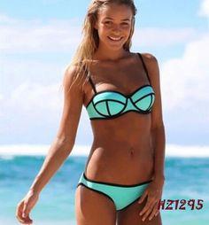 bf068163ddba2 Hot Sexy bikini triangle style Women beach wear sexy swimwear Ribbon  Textured Neoprene Swimsuit push up bikini set
