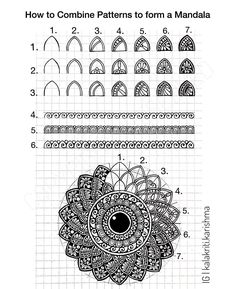 📝 Mandala Tutorial- 1 📝 Learning by Teaching!😊 Yes, I' learn so much when I work on such tutorials. Having no experience in Online… Easy Mandala Drawing, Mandala Art Lesson, Mandala Doodle, Mandala Artwork, Doodle Art Drawing, Simple Mandala, Drawing Quotes, Zentangle Drawings, Art Drawings Sketches