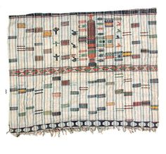 Africa | Embroidered cotton wrapper from the Hausa people of the Tahoua region of Niger | 20th century