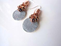 Geek Jewelry Earrings with Copper Pure Silver by GildedOwlJewelry, $69.00