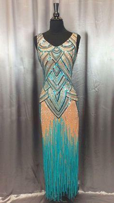 blue orange nude crystal bodice design long fringe latin dress