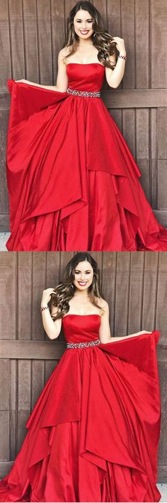 Strapless Red A-Line Taffeta Long Prom Dresses with Beaded PG522 #promdress #red #dress #pgmdress