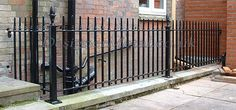 Heavy Urban railings installed around a light well in Essex Wall Railing, Steel Railing, Gates And Railings, Kerb Appeal, Light Well, Garden Gates, Home Renovation, Metal Walls, Fence