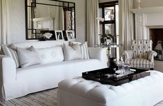 Yvonne O'Brien Interior Design | beautiful, plush sofa and ottoman add elegance to this space | soothing neutral colour palette captures grace in design
