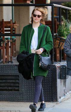 Emma Stone wearing Nike Free 5.0 Tr Fit 4 Training Shoes, Rag & Bone Bradbury Small Flap Hobo Bag in Black and Elizabeth and James Reagan Coat